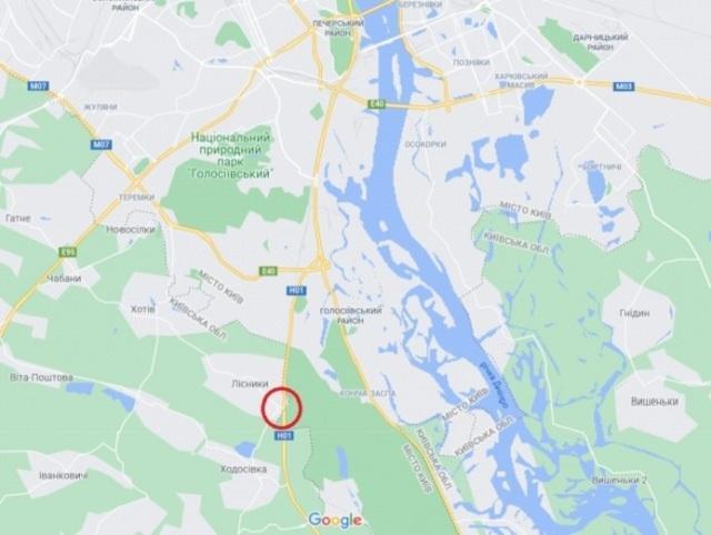 локація обстрілу авто Шефіра<br /> ФОТО: УП