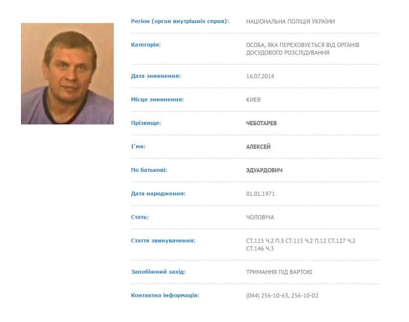 «Горілчаний король» бізнесмен Олексій Чеботарьов і досі знаходиться в розшуку. Скріншот з бази МВС