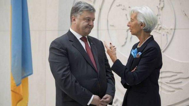 Президент Петро Порошенко та директор-розпорядник МВФ Крістін Лагард, фото Економічна правда