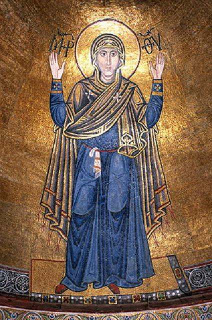 Марія-Оранта з вишиваною хусточкою за поясом. Софійський собор (Київ)
