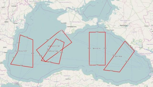 Перекриті Росією райони Чорного моря за міжнародним приписом 0817/2019, інфографіка з mil.in.ua